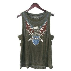 Chaser Eagle Graphic Burnout Tank Top Cutout USA